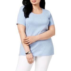 Karen Scott Plus Size Cotton Crewneck T-shirt